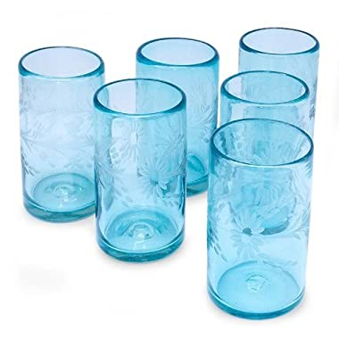 NOVICA Hand Blown Blue Recycled Glass Tumbler Etched Glasses,14 oz 'Aquamarine Flowers' (set of 6)