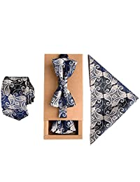 Mens Fashion Polyster Skinny Neck ties and Bowtie Pocket Square 3pcs Set for Gifts 2