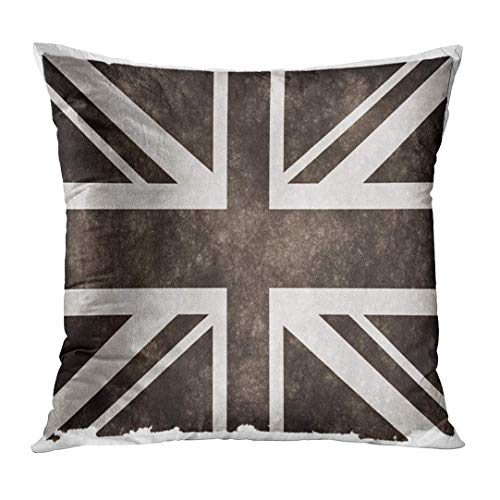 Newhomestyle Throw Pillow Cover Gray Jack Black and White of The United Kingdom on Vintage Union Grey Grungy Aged Ancient Home Decor Square Cushion Pillowcase (Two Sides)