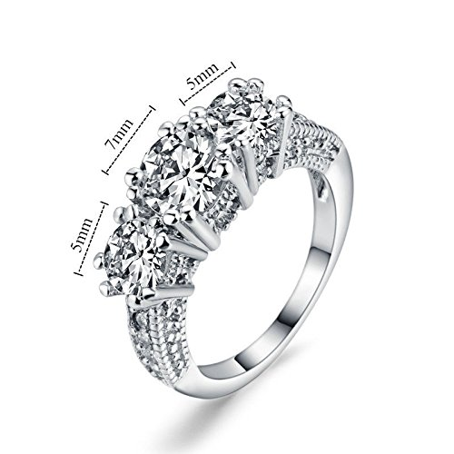 [Cosines Jewelry - White Sapphire Silver Wedding Band Ring 10KT White Gold Filled Jewelry Size 8] (Good Guy Duo Costumes)