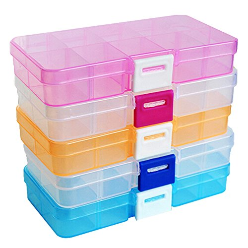 (Hihihappy Folding 12.5x6.2x2cm Organizer Box 10 Cells 5 Colors Transparent Color Splittable Plastic Storage Boxes Red Buckle S PinkS )