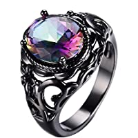 Women Fashion 925 Sterling Silver Rainbow Topaz Gemstone Ring Wedding Jewelry (10)