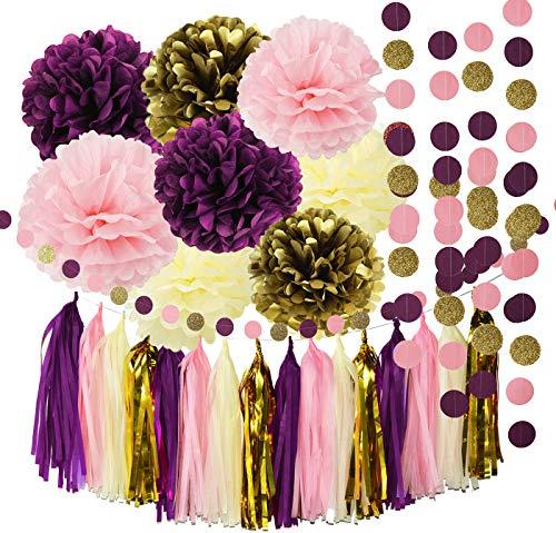 Qian's Party Bridal Shower Decorations Purple Pink Cream Glitter Gold Birthday Decorations Tissue Paper Pom Pom Tassel Garland Wedding Purple Party Decorations/Bachelorette Party Decorations