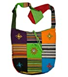 Cotton Canvas Mirror Patch Bohemian/Hippie Sling Cross Body Bag India, Bags Central