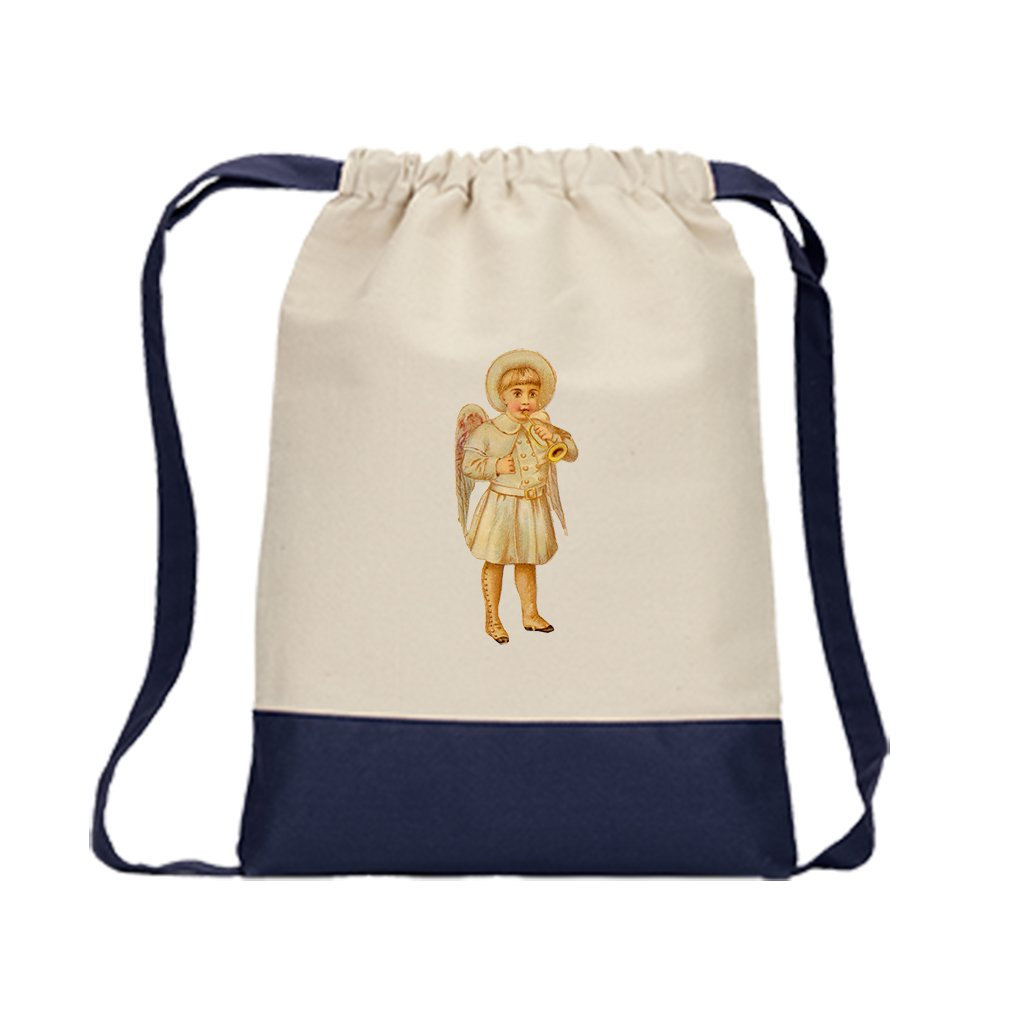 Backpack Color Drawstring Baby Boy Angel White Coat Plays Trumpet   Navy