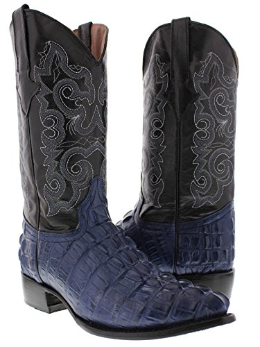 Texas Legacy - Men's Blue Crocodile Tail Print Leather Cowboy Boots J Toe 10 D(M) US