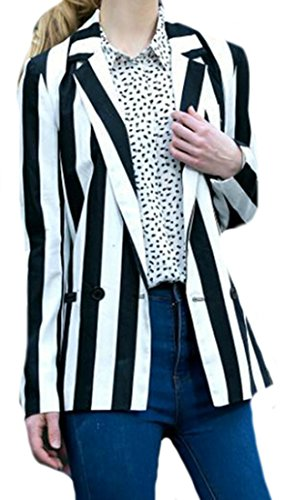Black And White Striped Jacket - 4