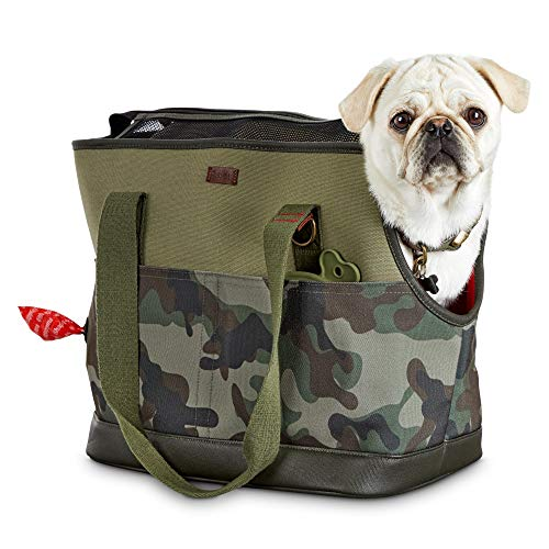"Reddy Camo Canvas Dog Carrier Tote, 19"" L x 9"" W x 12"" H, Small, Green"