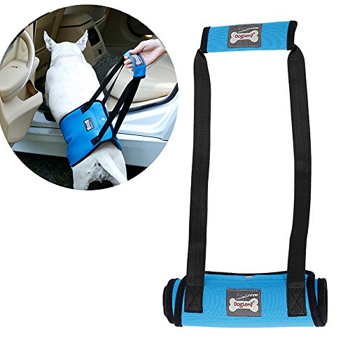 Santune Dog Lift Support Sling Harness with Handle Assist Mobility for Elderly Injured Disabled Arthritis Medium Breed with Weak Front or Rear Legs(Blue,M) by Santune