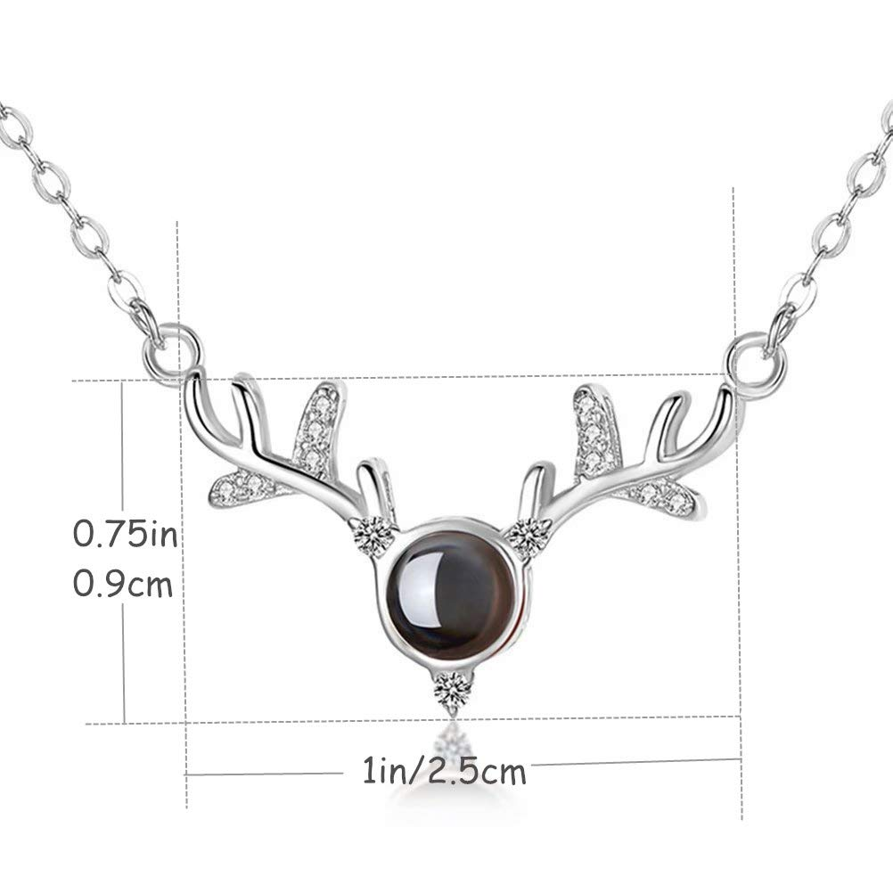 I Love You 100 Languages Projection Pendant Loving Memory Collarbone Necklace Gift for Mom Girlfriend Lover Wife Her Wedding Anniversary