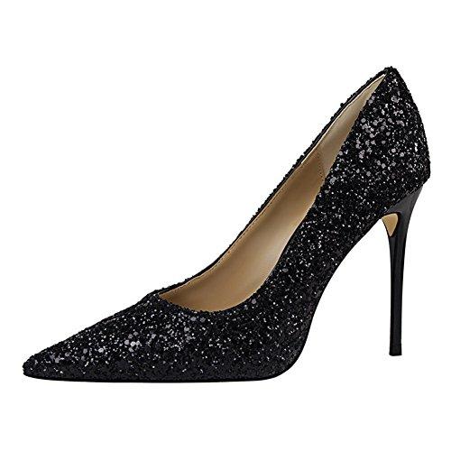 Chaussures Pumps Noir Brillants Talons Escarpins Glitter Femmes Club Pointu Hauts Inconnu Soirée Mode Aiguille H6xZ0n7w