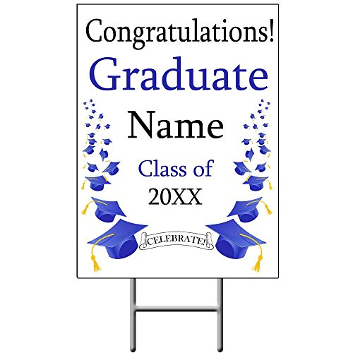 Blue MORTARBOARDS Graduation Yard Sign (Each) Customized by Partypro
