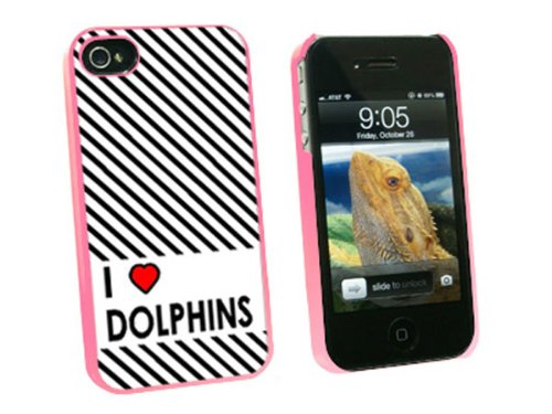 Graphics and More I Love Heart Dolphins Snap-On Hard Protective Case for Apple iPhone 4/4S - Non-Retail Packaging - Pink