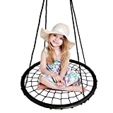 BHORMS Spider Web Swing 40 inch Diameter, Adjustable Height, 600 lb Weight Capacity, Kids Indoor/Outdoor Round Web Swing