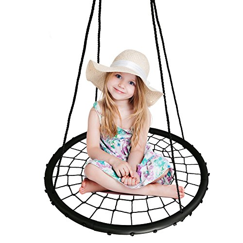 BHORMS Spider Web Swing 40 inch Diameter, Adjustable Height, 600 lb Weight Capacity, Kids Indoor/Outdoor Round Web Swing by BHORMS