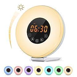 Sunrise Alarm Clock, [2018 UPGRADED] Bcway Digital LED Clock for Bedside Wake Up Light with Sunrise Sunset Simulation, 6 Nature Sounds, FM Radio, 10 Brightness, 7 Colors, Snooze Function