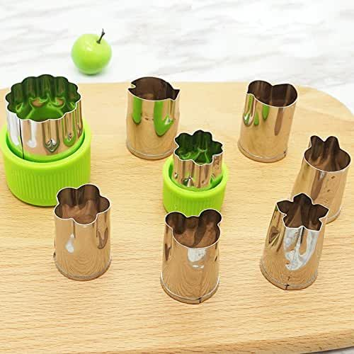 Zehui Stainless Steel Cookie Mold Vegetable Fruit Cutters Flower Shapes Set Biscuit Mould for Fun Food Green