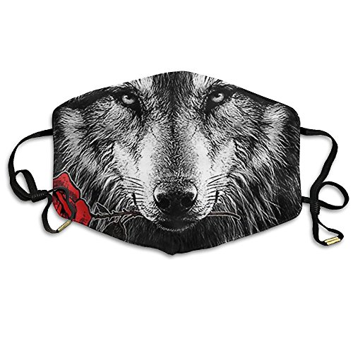 (Unisex Wolf Rose Reusable Anti-dust Breathable Health Masks Mouth Face)