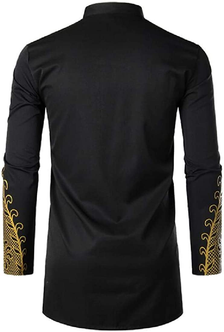 Alion Men African Dashiki Tribal Long Sleeve Mandarin Collar Shirts Tops