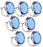 7pc Set Double Compact Cosmetic Makeup Round Pocket Purse Magnification Jewel Mirror (royal blue-7pc)