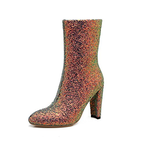 Multi Colored High Heel (BalaMasa Womens High-Heels Zipper Sequin Novelty Pointed-Toe Multi-Colored Sequin Boots ABL09788-5 B(M) US)