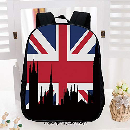 School Backpack,Houses of the Parliament Silhouette on UK Flag Historic Urban Skyline School Bags Student Stylish Book Bag Daypack for Little Boys and Girls,Royal Blue Black Red
