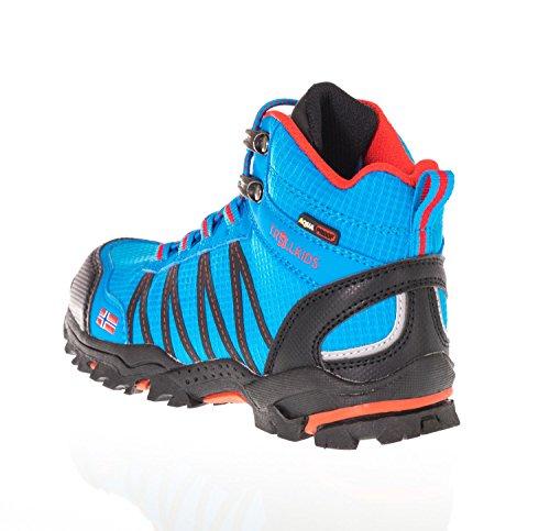 Trollkids Zapatos impermeables corte medio Trolltunga para niños azul medio / rojo
