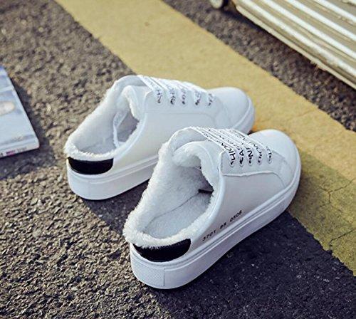 Libre de al Zapatillas Skater caseros de Zapatos Zapatos de Negro Sport Invierno Skate Estudiante DANDANJIE Zapatos Cálido algodón de Terciopelo Aire Mujer Sneaker HTIcq