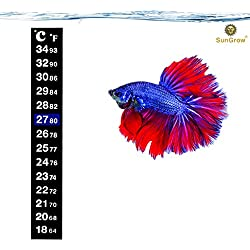 "Ultra Thin Peel & Stick Betta Thermometer by SunGrow - Clean, Practical (5.2"" x 0.7"") - Easy to Set-up in Aquariums: Provides Accurate Reading of Fish Tank Water Temperature in Celsius & Fahrenheit"