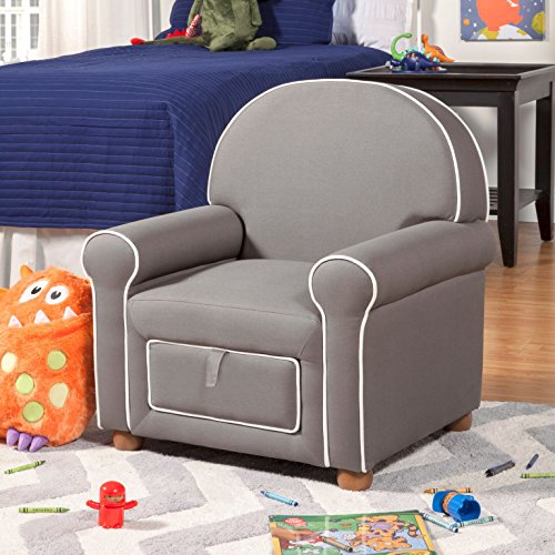 HomePop Youth Upholstered Club Chair with Storage Drawer, Grey with White Piping