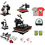 "VEVOR 12""x15"" 8IN1 Combo T-Shirt Heat Press 360 Degree Rotation Swing Away Heat Press Machine Sublimation Transfer Baseball Mug Hat Pressing (12""x15"" 8IN1 Yellow)"