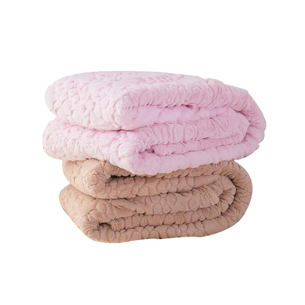 HSBAIS 寝具柔らかいウォーム毛布クイーンキングサイズ - 冬毛布赤ちゃんの大人のため小さい毛布フラネル厚い贅沢なウォッシャブル暖かいシート ベッドブランケット 2個,pink;camel_160*210cm B07K78XKZB pink;camel 160*210cm
