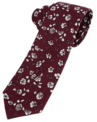 Ayliss Men's Skinny Ties 100% Cotton Printed Floral Necktie,Burgundy (Printed Tie Mens)