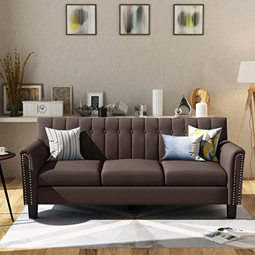 Great Deal Furniture 303964 Jasmine Traditional Dark Brown Fabric 3 Seater Sofa, (Traditional Couch Brown)