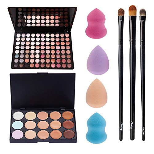 Awesome Deal And Quality Professional Make Up Artists Set With Palettes of 88 Different Neutral Colors Eyeshadows / Eyes Shadows, 15 Tones / Shades Blendable Concealers In Hard Cases, Application Brushes And 4 Different Latex Free Sponges Applicators / Blenders By VAGA