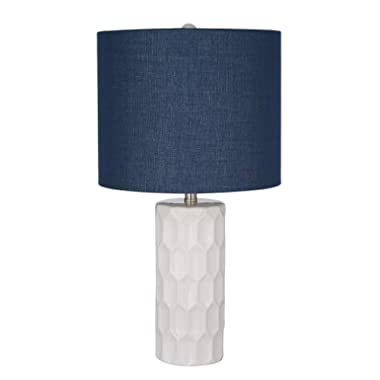 Ravenna Home Mid Century Modern White Ceramic Table Lamp With LED Light Bulb - 11 x 11 x 21 Inches, Light Blue Linen Shade