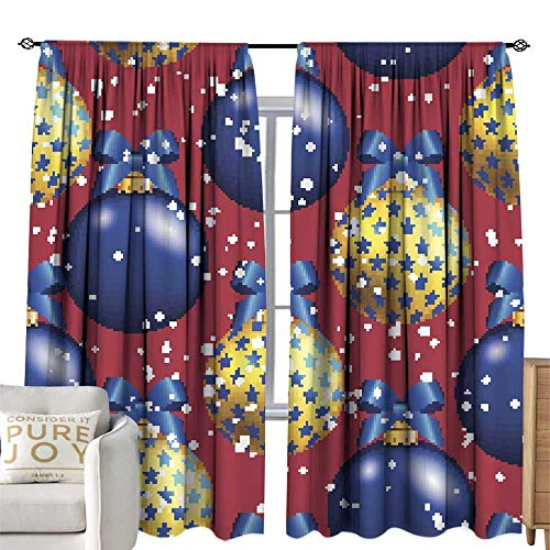 WinfreyDecor Blackout Curtains New Year Pattern with Ball Christmas Wallpaper with Bow Home Garden Bedroom Outdoor Indoor Wall Decorations 108W x 84L Inch ()