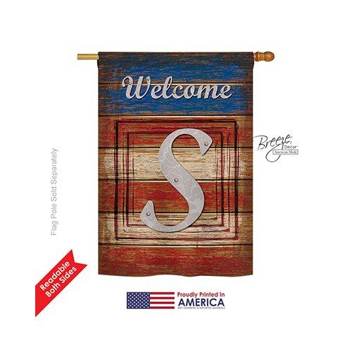 Breeze Decor – Patriotic S Initial Americana – Everyday Patriotic Impressions Decorative Vertical House Flag 28″ x 40″ Printed In USA