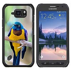 LECELL--Funda protectora / Cubierta / Piel For Samsung Galaxy S6Active Active G890A -- amarillo azul pájaro ramificación plumas de oro --