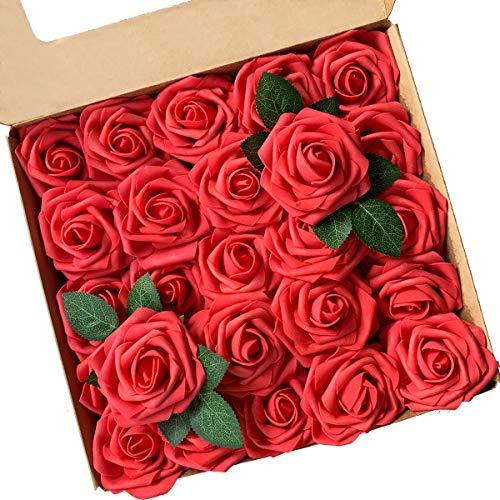 ACDE Flores Artificial, Rosa Artificial 25PCS Rosa Falsa Espuma Mirada Real con Hoja y Vastago Ajustable para Bricolaje Ramos de Boda Decoraciones para el Hogar Nupciales (Rojo)