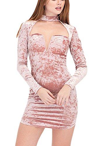 Manga Vestido Halter Terciopelo Hueco De Larga La Pink Bodycon Corte Mujer De Sólido Bajo Elegante qzaxnfPwt