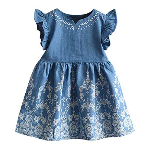 TOTOD Dress - Toddler Kids Baby Girls Clothes Embroidery Ruffled Denim Party Pageant Princess Mini ()