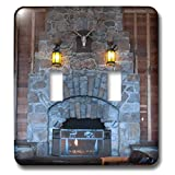 3dRose Jos Fauxtographee- Yellowstone Fireplace - The Yellowstone Hotel with The huge fireplace of brick - Light Switch Covers - double toggle switch (lsp_293356_2)