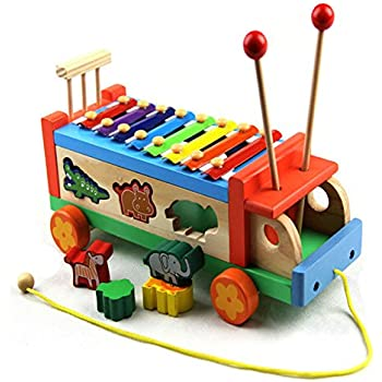 Amazon.com: iPuzzle Wooden Xylophone Toy Car Truck with