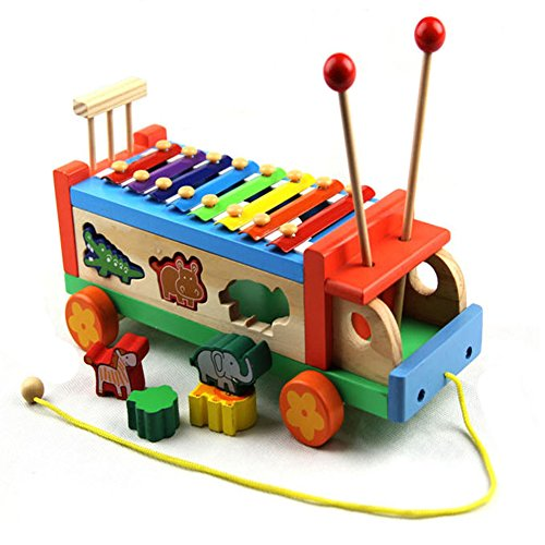 iPuzzle 3 in 1 Wooden Xylophone Animal Shape Sorter Cube Truck Gift Set Toy for Kids