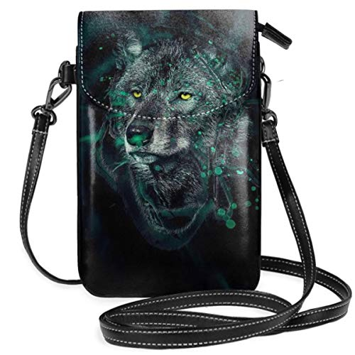 Small Cell Phone Purse For Women Leather Wolf With Blue Ray Insides Card Slots Crossbody Bags Wallet Shoulder Bag