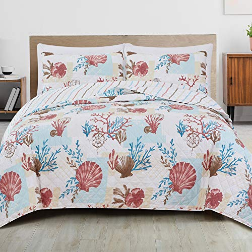 Great Bay Home 3-Piece Reversible Quilt Set with Shams. All-Season Coastal Beach Theme Bedspread Coverlet. Seabreeze Collection (King)