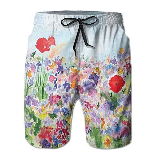 Men Swim Trunks Beach Shorts,Floral Summertime Garden with Grass and Blooms Love Illustration Print XL