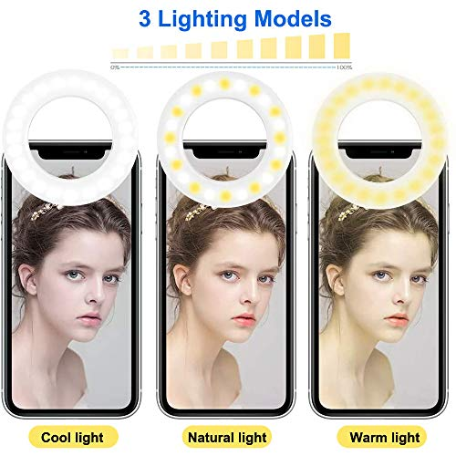 Ytaland (2020 Upgraded New) Selfie Ring Light, 3 Lighting Modes Rechargeable Clip on Selfie Fill Light, Adjustable Brightness Clip on Phone Camera Light for Makeup Video, for iPhone, Android (White)