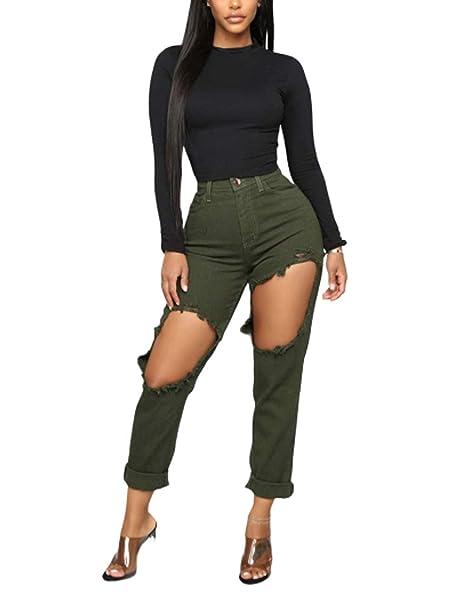 Mujer Primavera Verano Boyfriend Jeans Básicos Pantalones ...